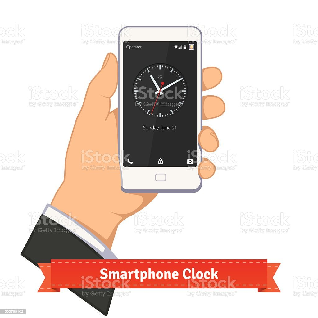 Hand holding smartphone with round clock widget vector art illustration