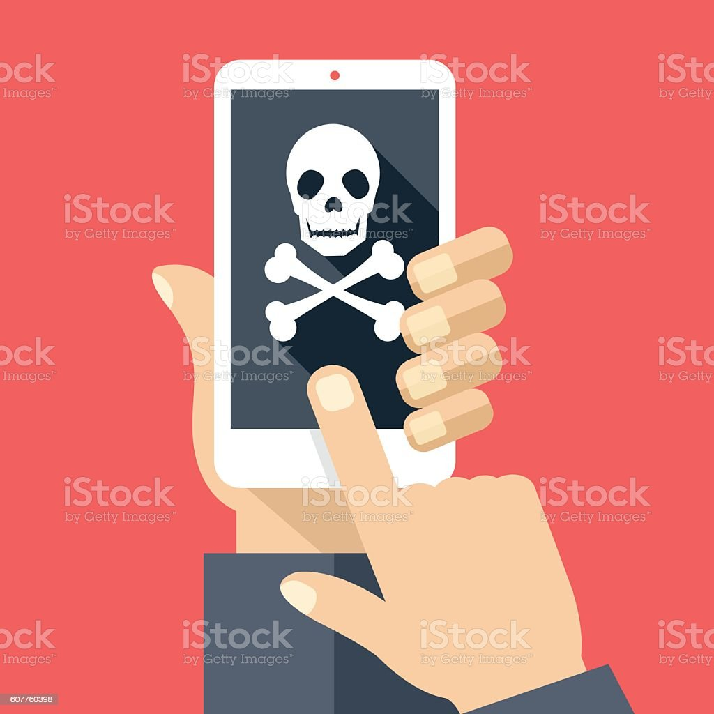Hand holding smartphone with skull icon. Broken phone, malicious software vector art illustration