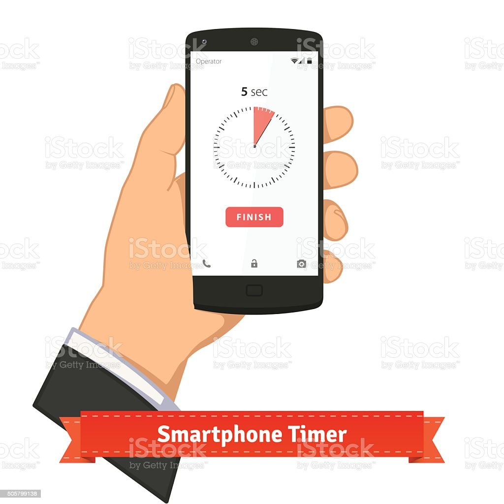 Hand holding smartphone with timer app on screen vector art illustration