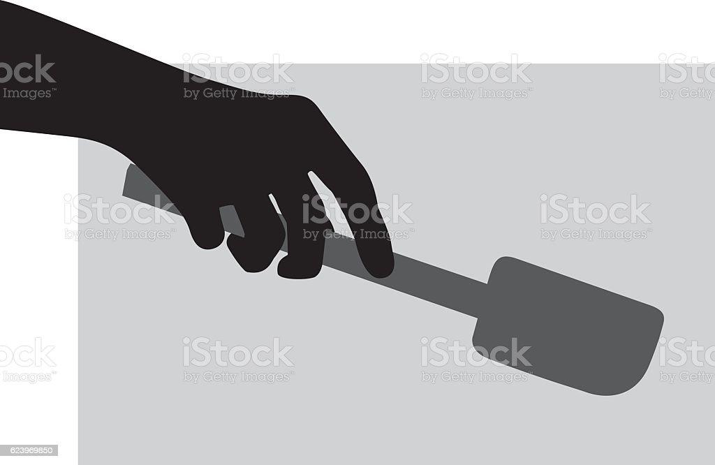 Hand Holding Spatula Silhouette vector art illustration