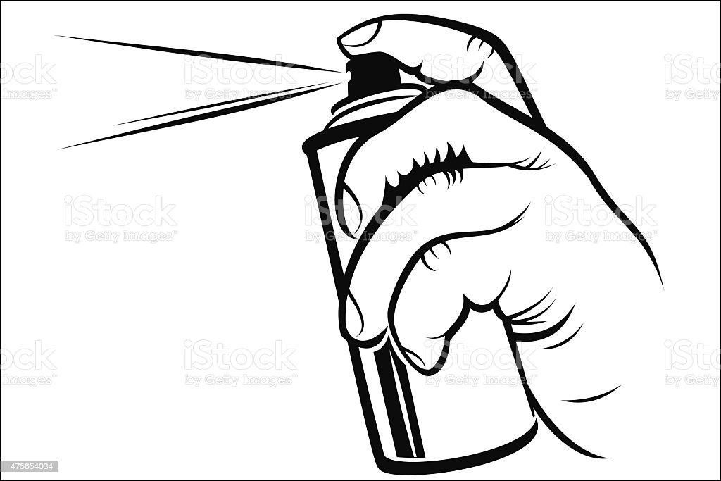 Hand holding spray royalty-free stock vector art