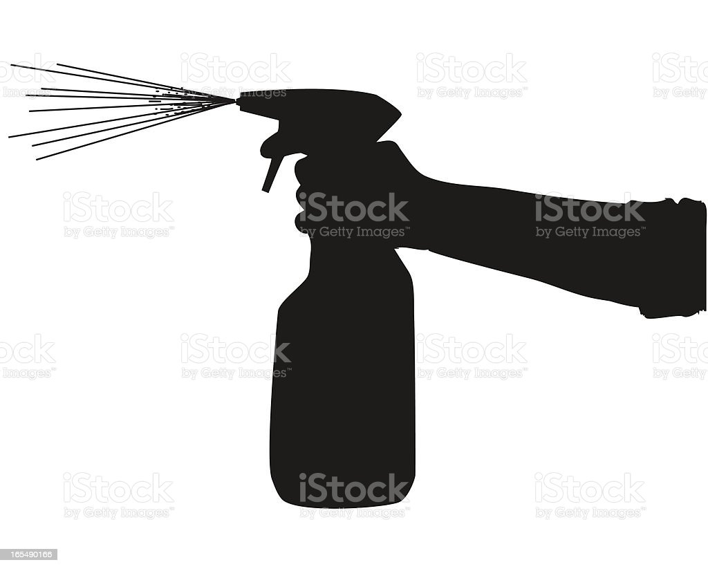 Hand holding sprayer - VECTOR vector art illustration