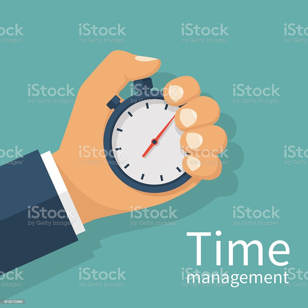 Hand holding stopwatch vector art illustration