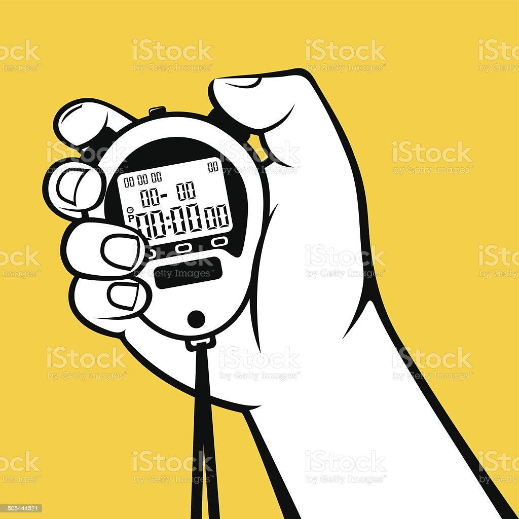 Hand holding stop-watch vector illustration vector art illustration