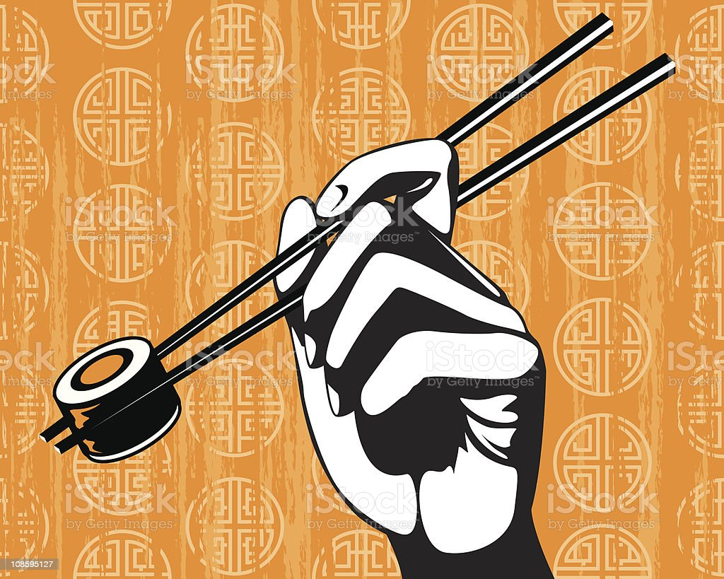 Hand Holding Sushi with Chopsticks royalty-free stock vector art