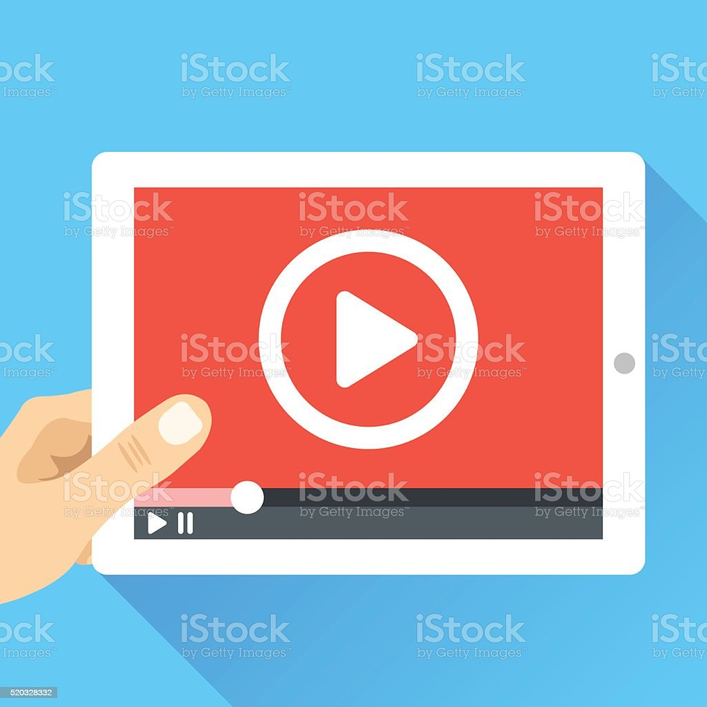 Hand holding tablet with video player. Video marketing, online cinema vector art illustration