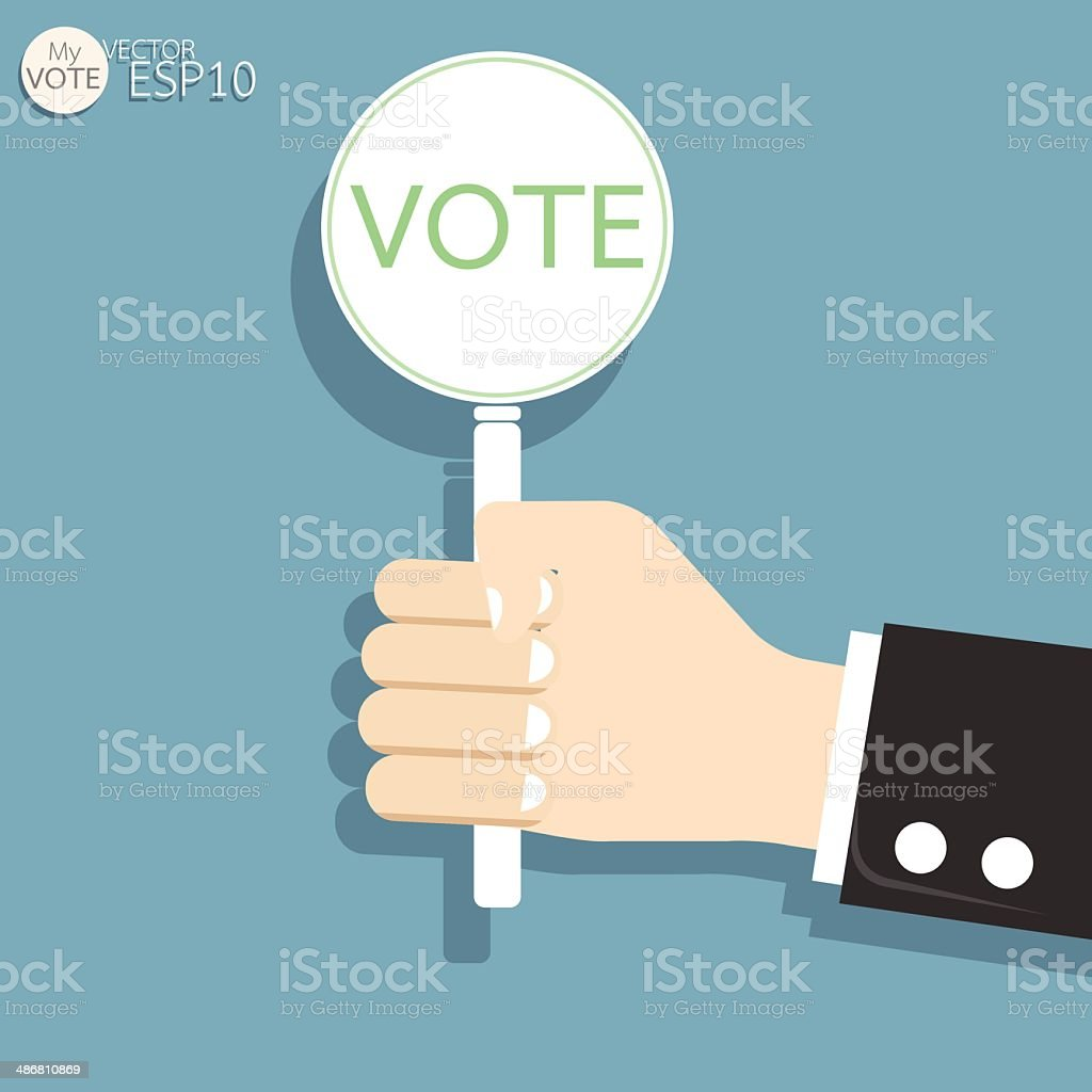 Hand Holding Tags Vote Concept. Vector illustration royalty-free stock vector art