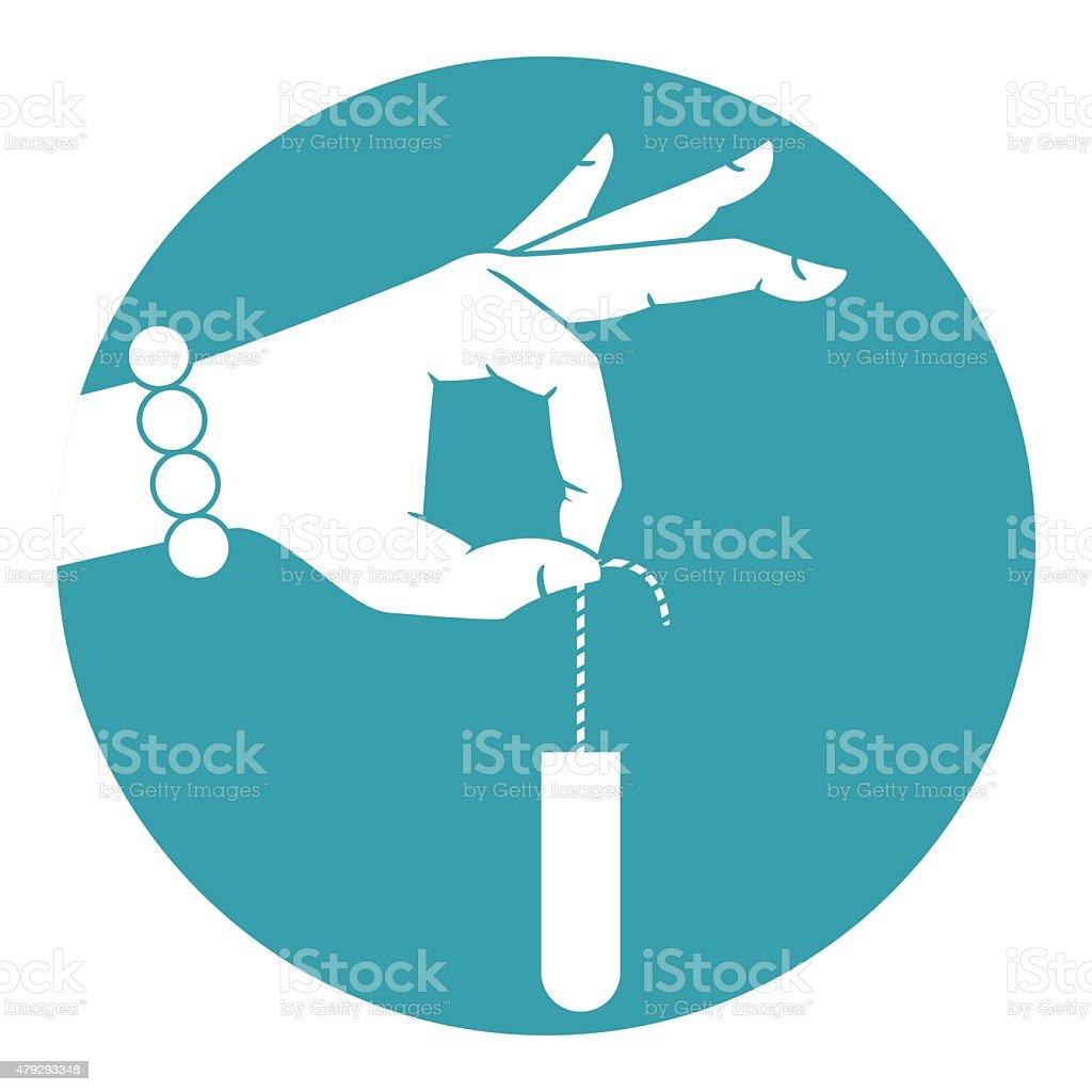 Hand holding tampon vector art illustration