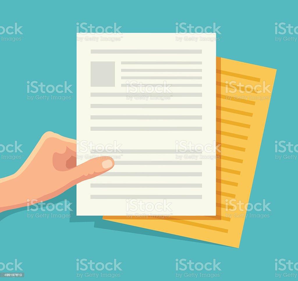 Hand holding the document vector art illustration