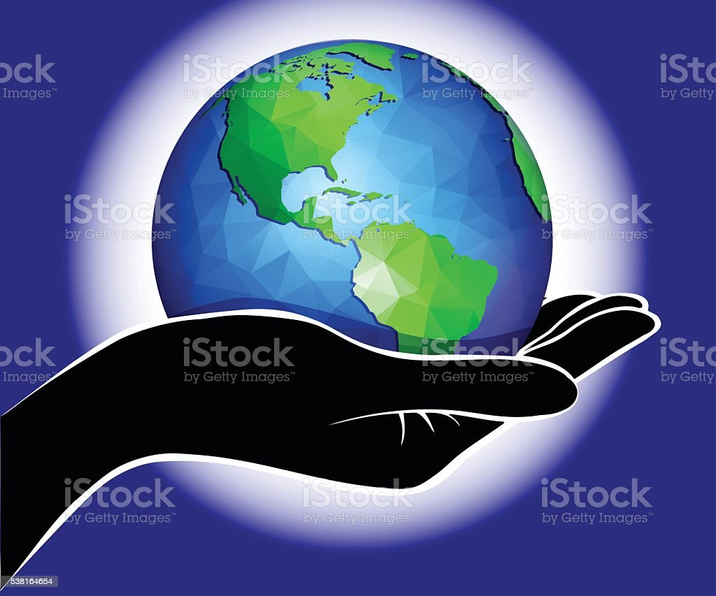 Hand Holding the World vector art illustration