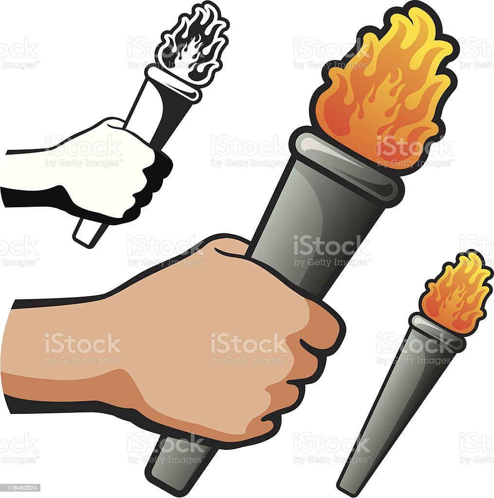 Hand Holding Torch vector art illustration