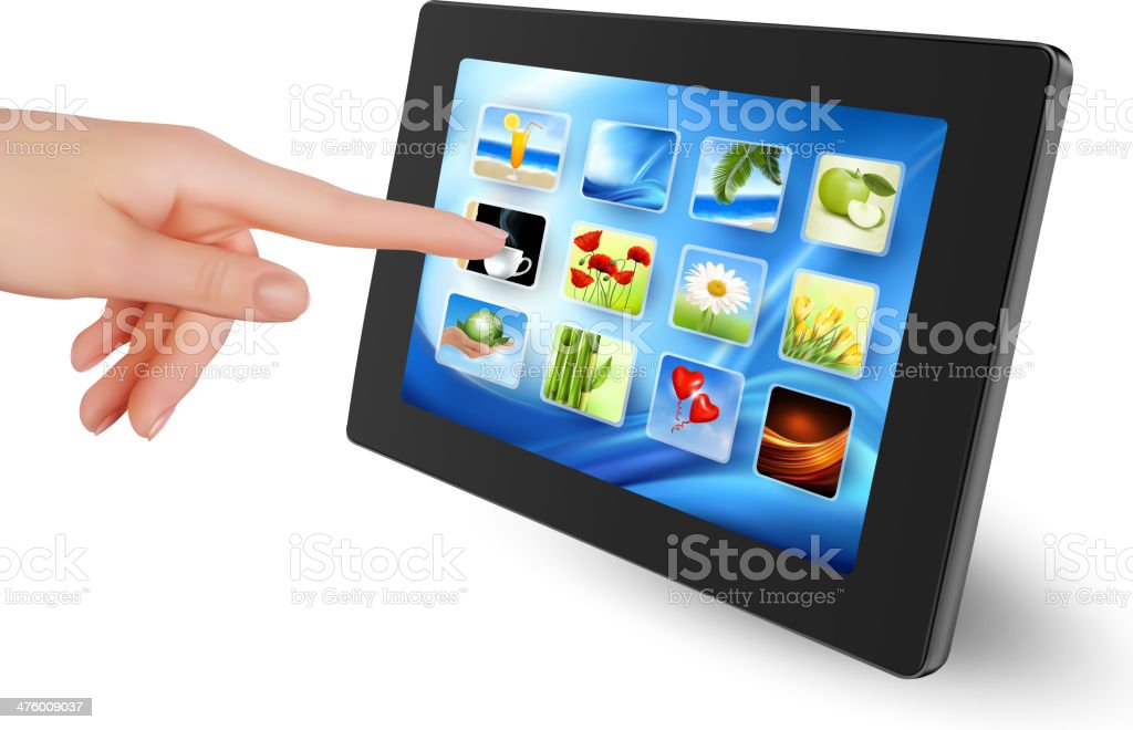 Hand holding touch pad royalty-free stock vector art