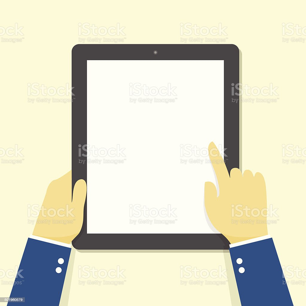 Hand holding touching tablet. vector art illustration
