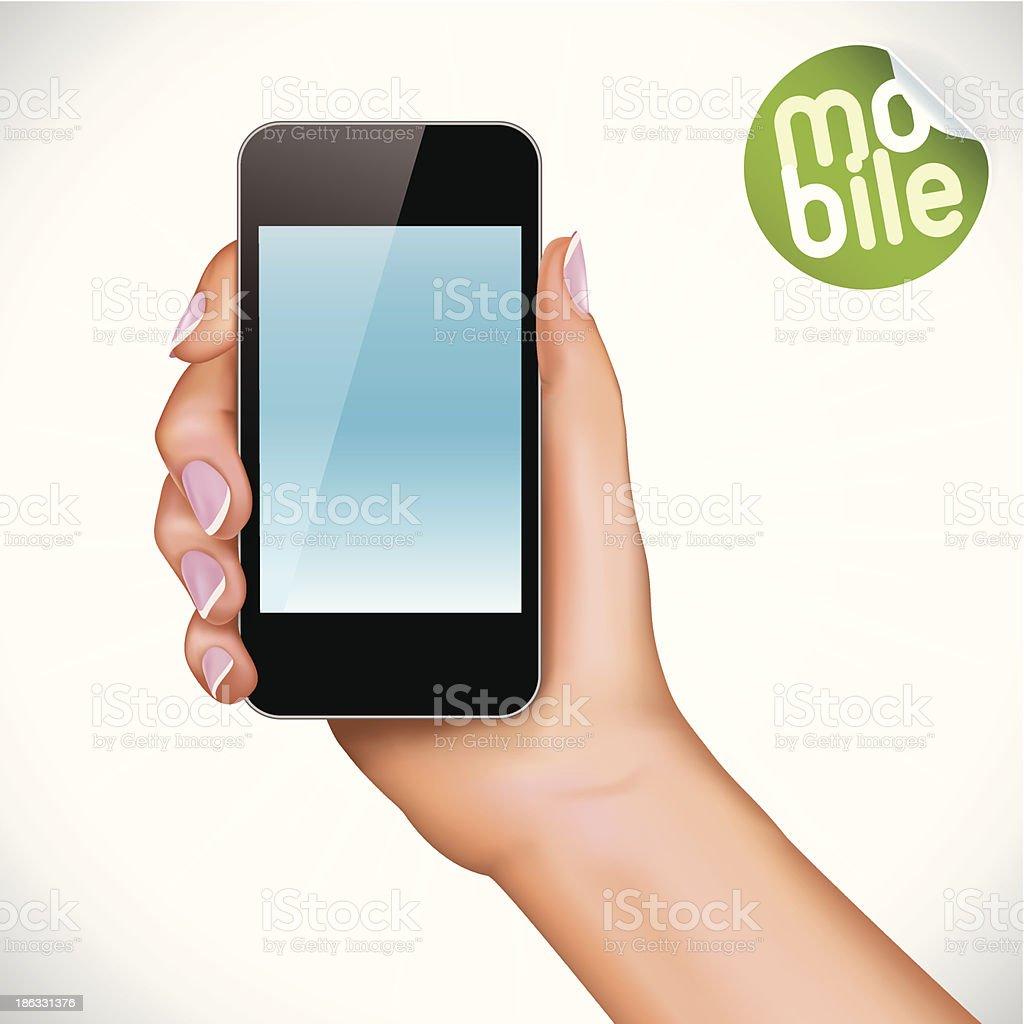 Hand Holding Touchscreen Mobile Phone vector art illustration