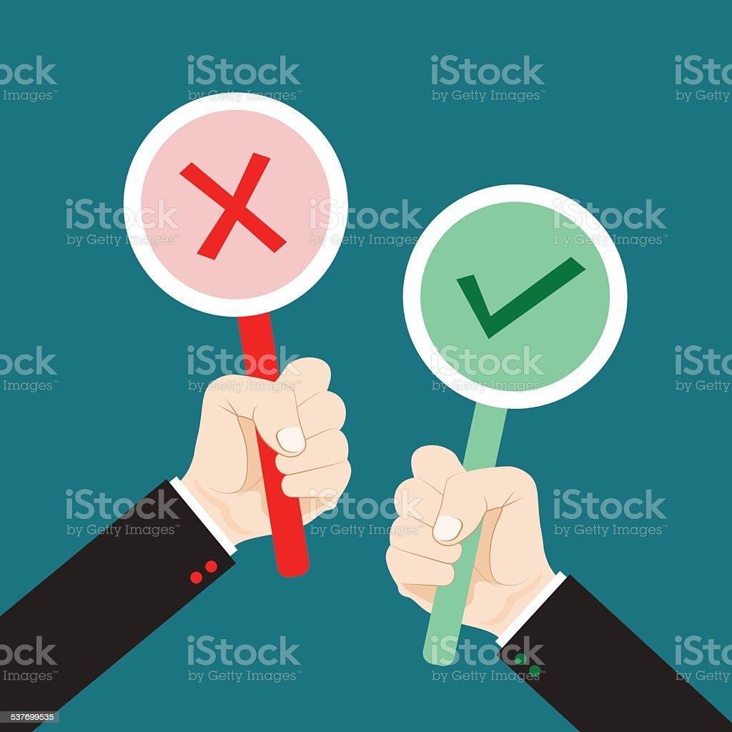 Hand holding true and false sign vector art illustration