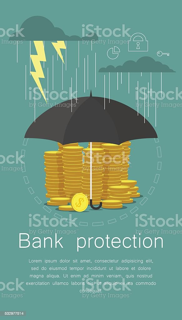 Hand holding umbrella to protect money.illustration for financial savings vector art illustration