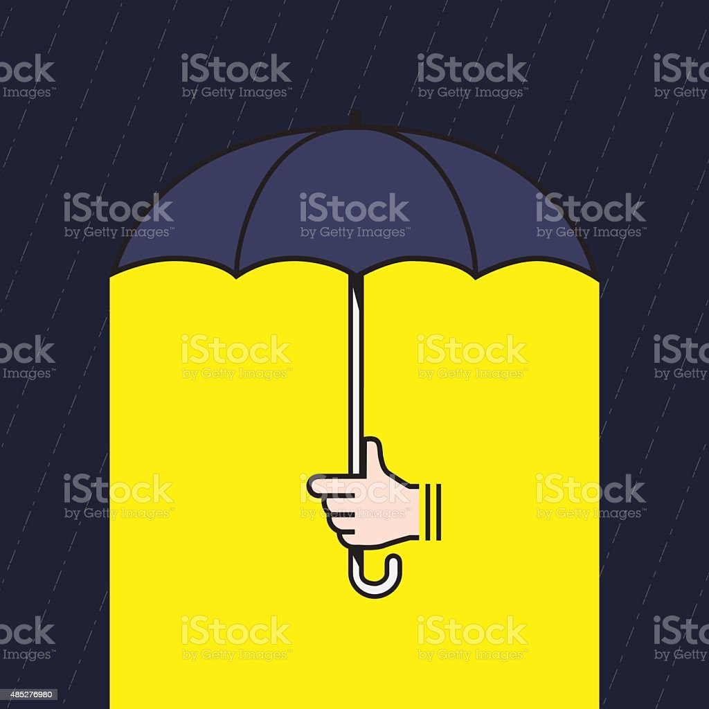 hand holding umbrella under rain with yellow light vector art illustration