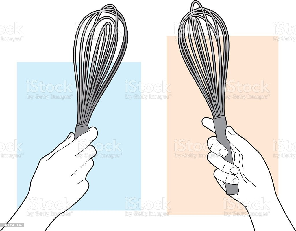 Hand Holding Whisk Line Art vector art illustration