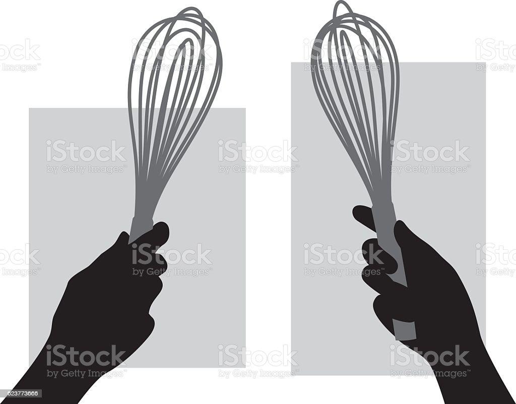 Hand Holding Whisk Silhouette vector art illustration