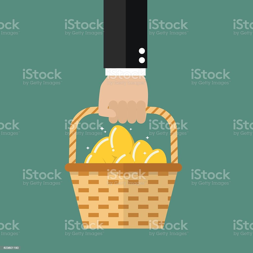 Hand holding wicker basket with golden eggs vector art illustration