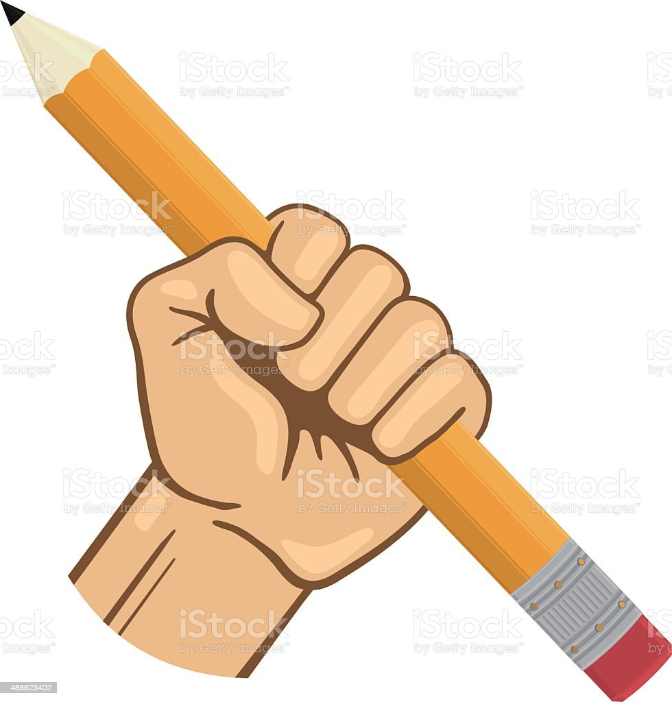 Hand Holding Yellow Pencil with Pink Eraser vector art illustration