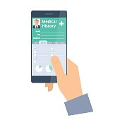Hand holds a smart phone with Patient Health medical history.