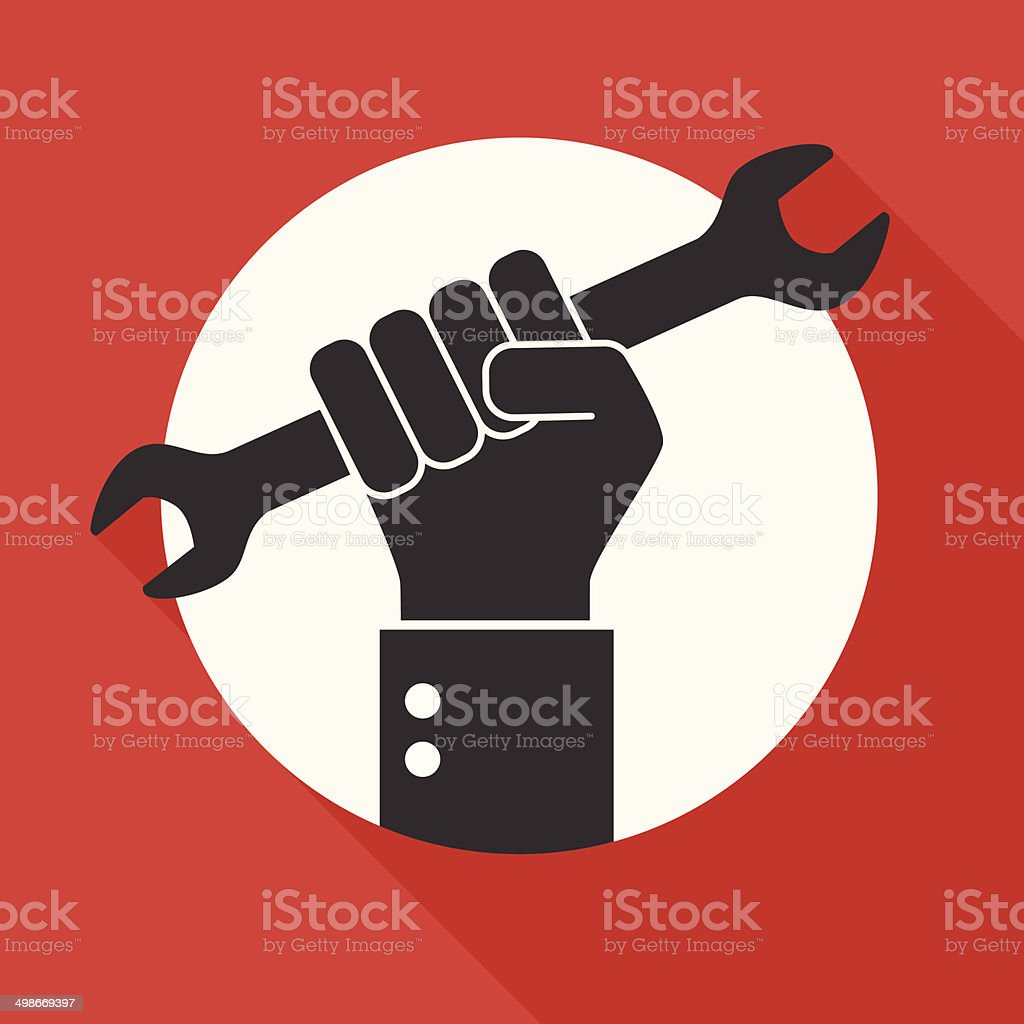 Hand holds a wrench, Repair icon on red background. vector art illustration
