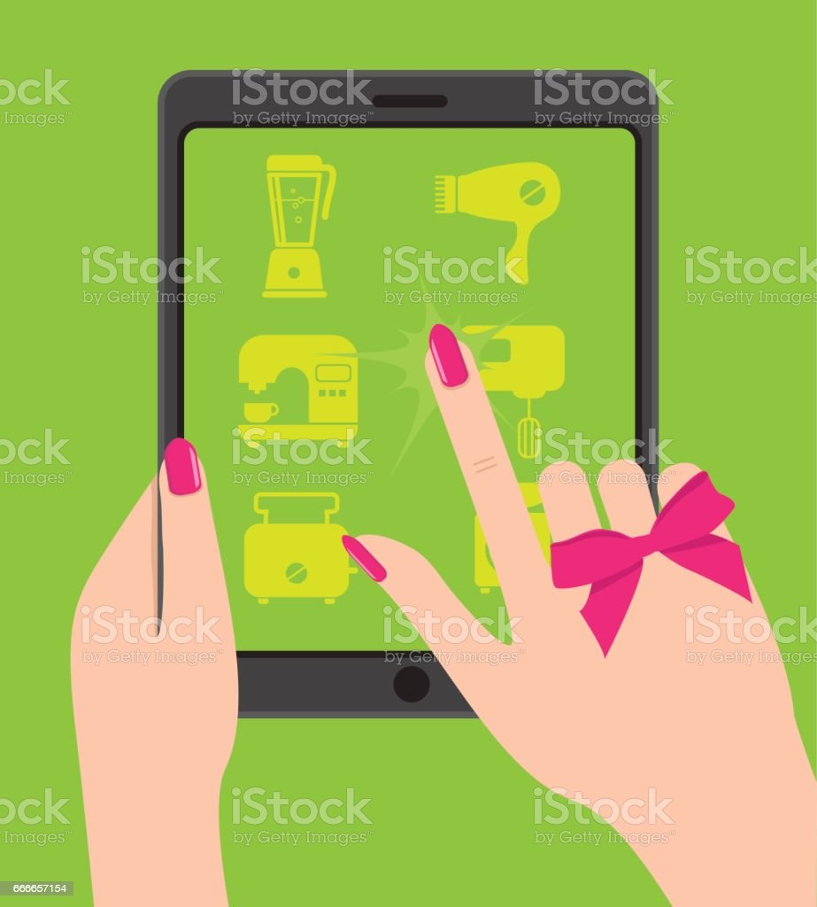 Hand holing smartphone, touching screen. Female hand holds table vector art illustration