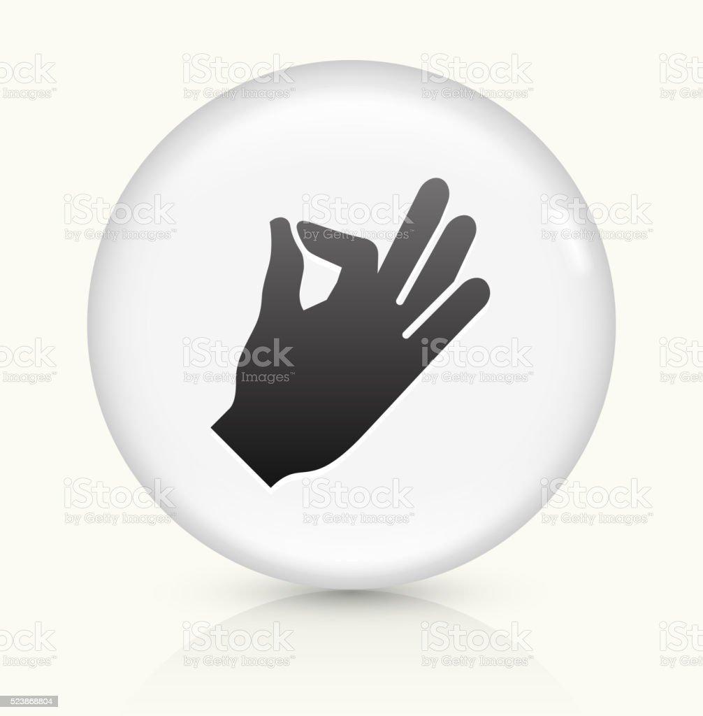 Hand icon on white round vector button vector art illustration