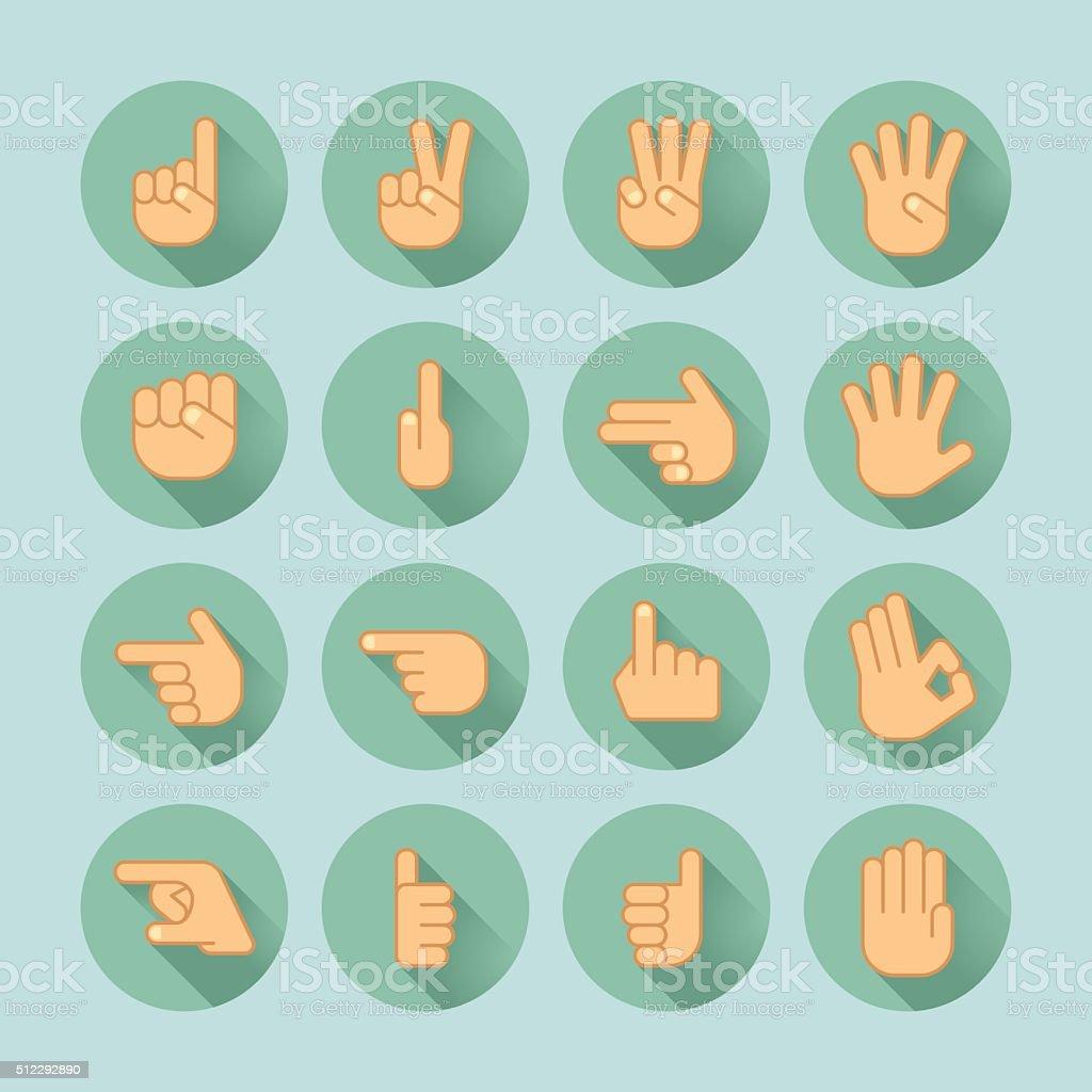 hand icon set vector art illustration
