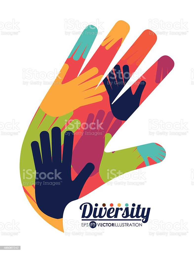 Hand icon with various colored hands inside shows diversity vector art illustration