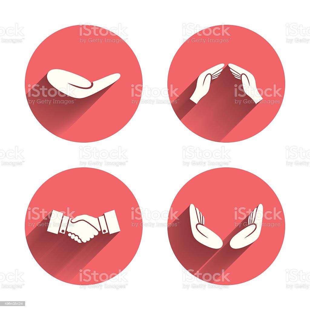 Hand icons. Handshake and insurance symbols vector art illustration