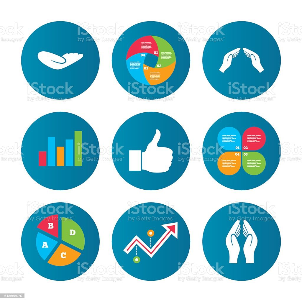 Hand icons. Like thumb up and insurance symbols. vector art illustration