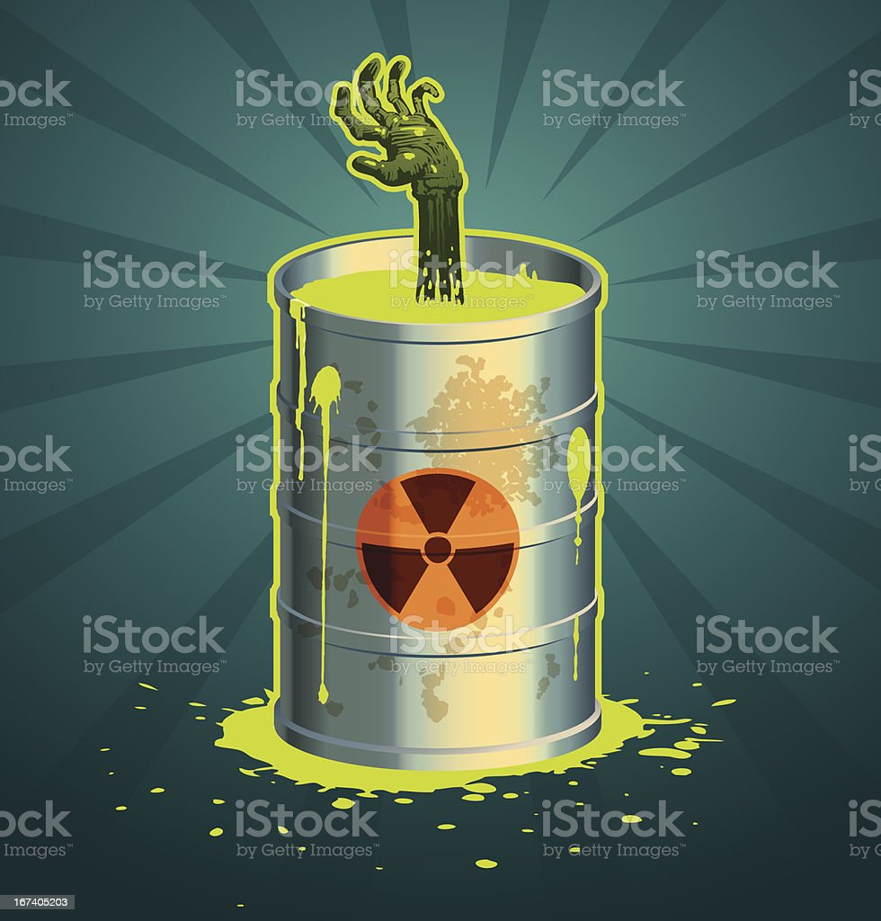 Hand in a barrel of radioactive waste vector vector art illustration