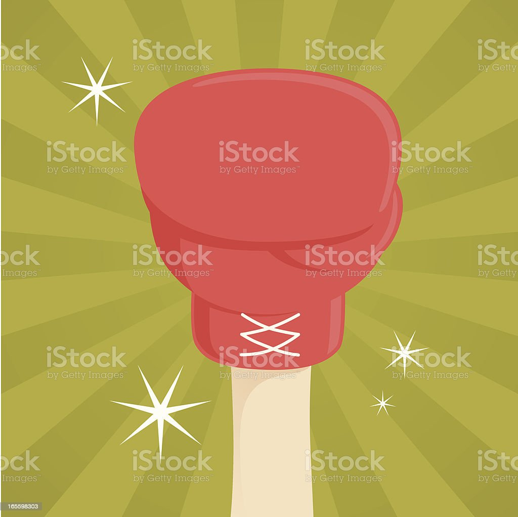 Hand in boxing glove vector art illustration