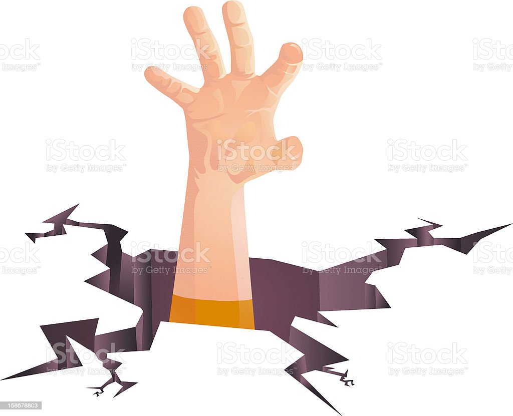 Hand in Earthquake Crack Vector royalty-free stock vector art