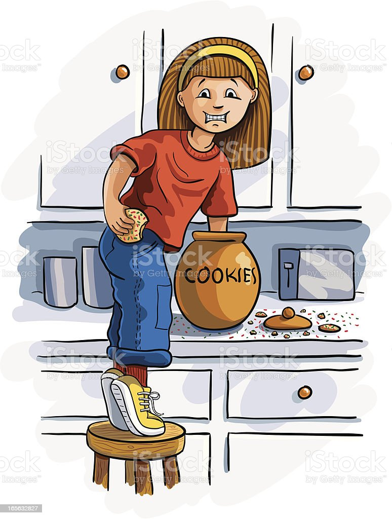 Hand in the Cookie Jar vector art illustration