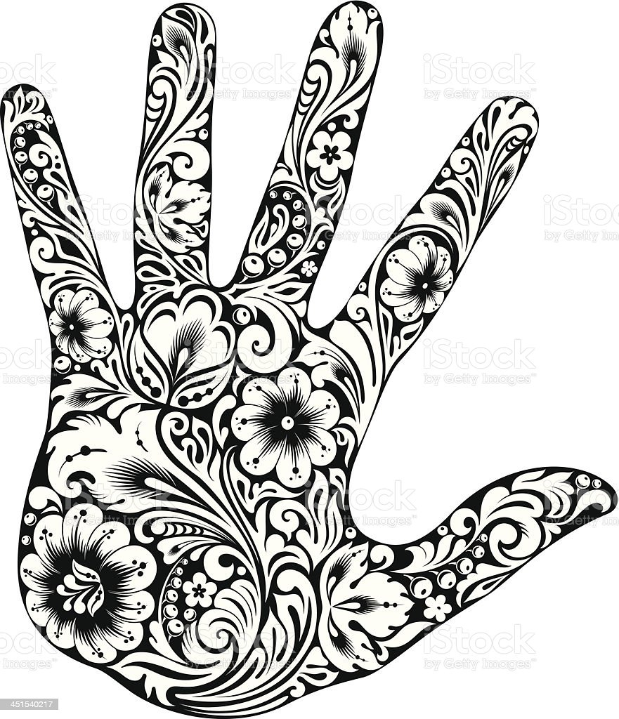 Hand in the flowers B&W royalty-free stock vector art