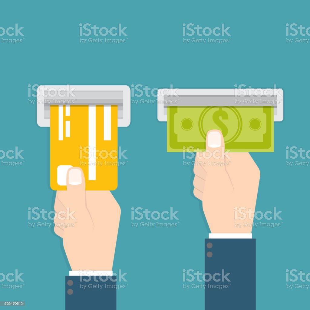 Hand inserts a credit card into ATM vector art illustration