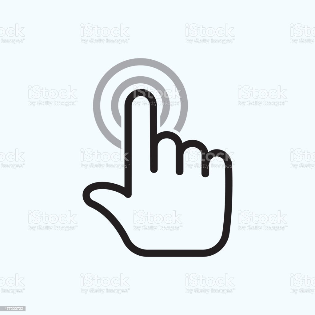 hand is touching vector art illustration