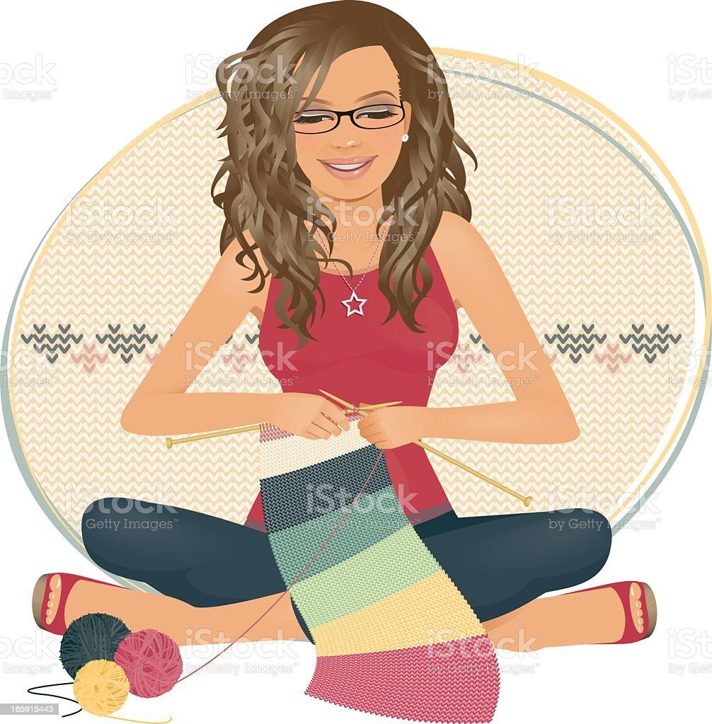 Hand Knitted vector art illustration