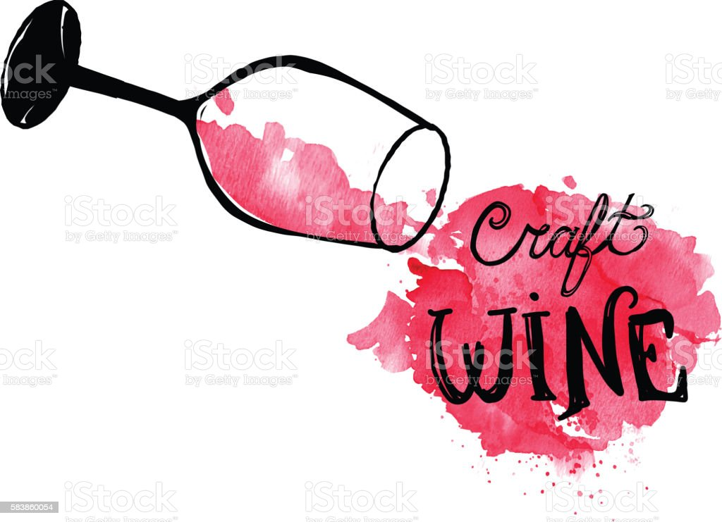 Hand lettered red wine stem glass with watercolor background vector art illustration