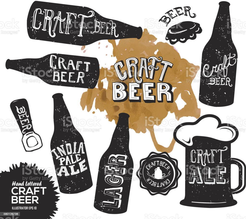 Hand lettered set of craft beer bottles vector art illustration