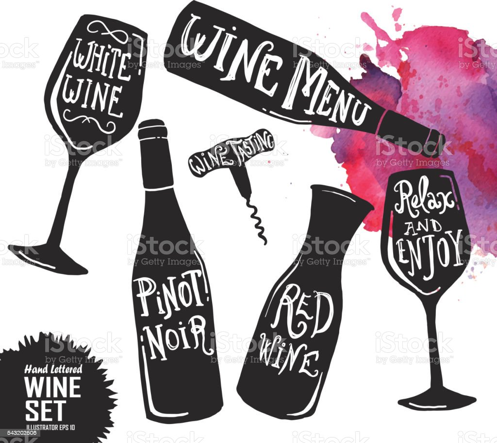 Hand lettered set of wine glasses and bottles vector art illustration