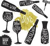 Hand lettered set of wine glasses and bottles