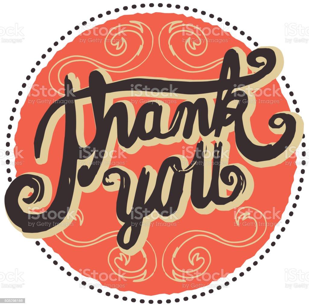 Hand lettered  thank you greeting design element vector art illustration