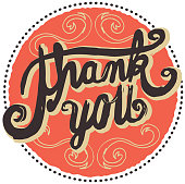 Hand lettered  thank you greeting design element