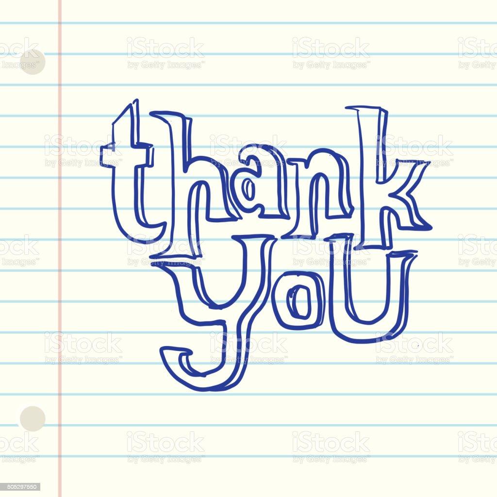 Hand lettered  thank you greeting design ink pen  lined paper vector art illustration
