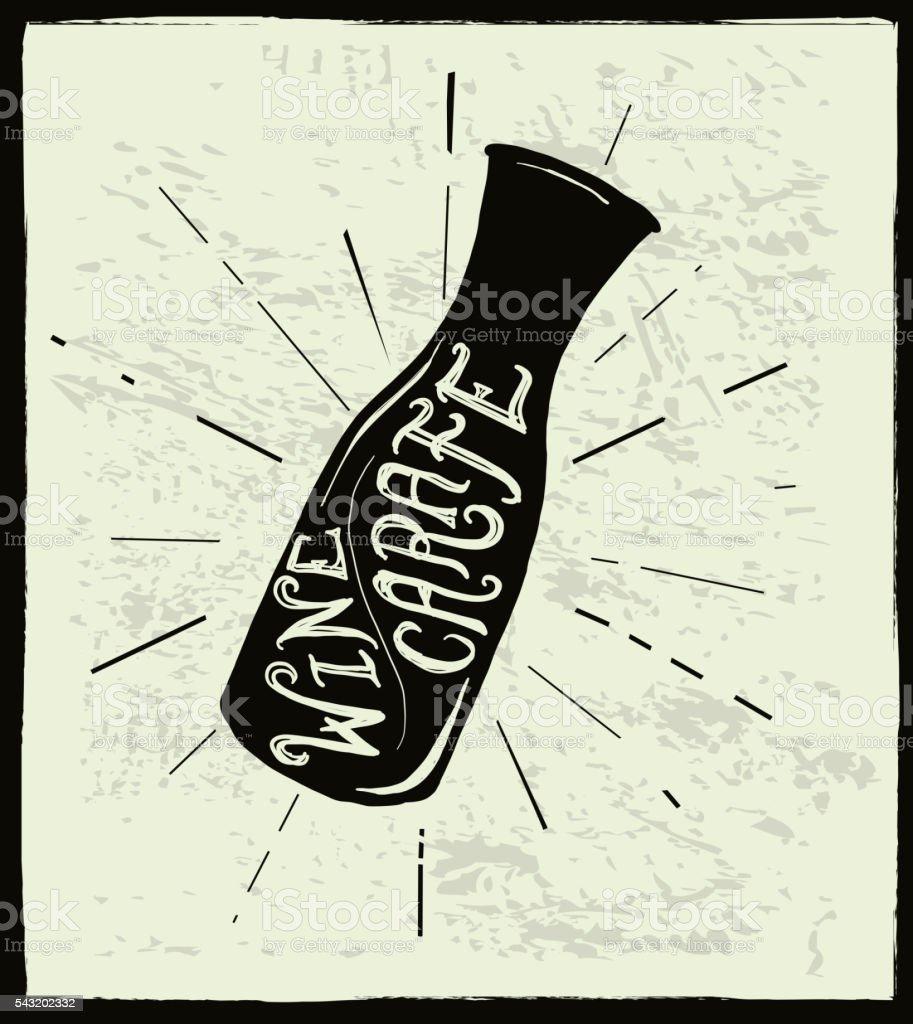 Hand lettered wine carafe vector art illustration