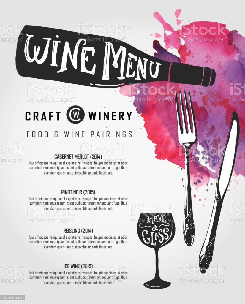 Hand lettered Wine menu design template vector art illustration